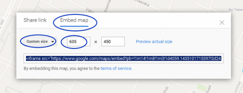 Google kaardi lisamine lehele